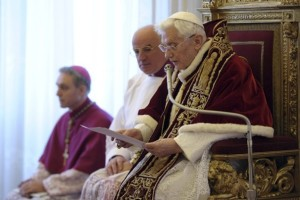 Pope Benedict XVI announces his resignation in the Vatican. Image from the Washington Post