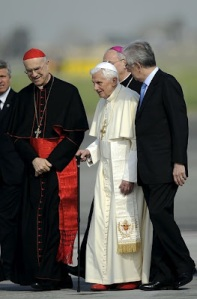 Pope Benedict XVI with a cane image from Patheos