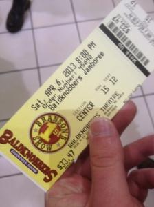 My Baldknobbers ticket