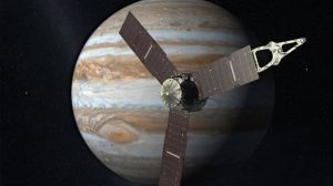 An artist's depiction of the Juno spacecraft, built by NASA with help from the University of Iowa