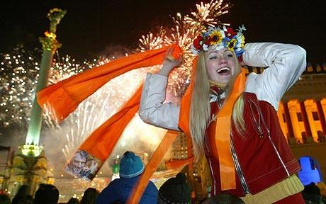 Celebrations after the Orange Revolution in 2005. Image from AFP.