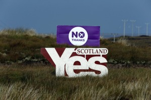 Campaign banners from yesterday's referendum in Scotland, where voters rejected independence with 55% of ballots opposed and 45% in favor. Photo by Cathal McNaughton for Reuters.