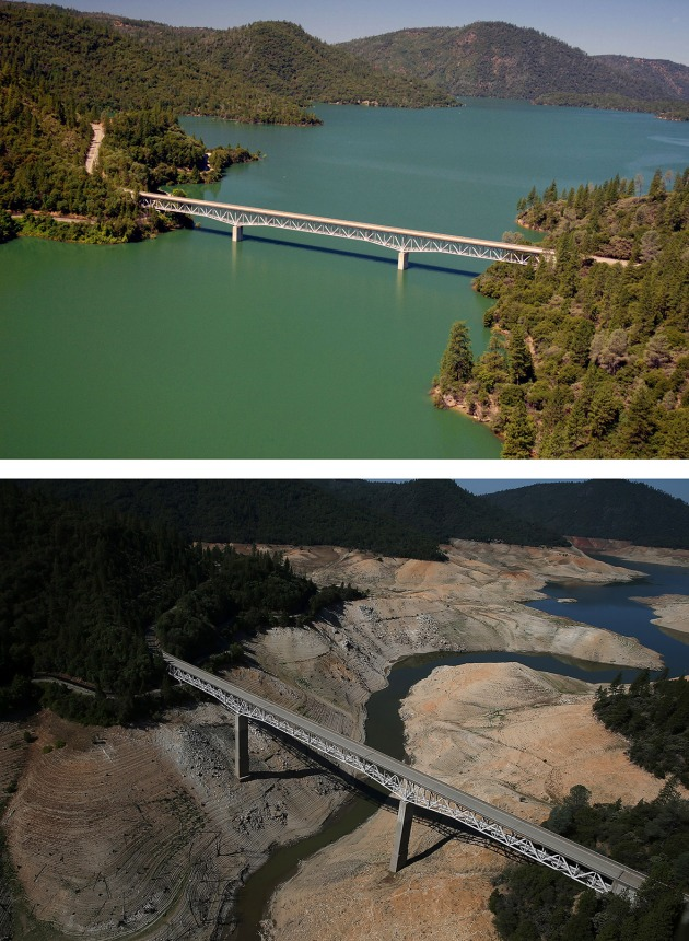 Lake Oroville as it appeared in 2011 - before the drought -  and in 2014. (2011 image by Paul Hames, 2014 image by Justin Sullican, both for Getty Images)