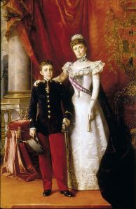 Alfonso XIII and his mother painting by Luis Alvarez Catala