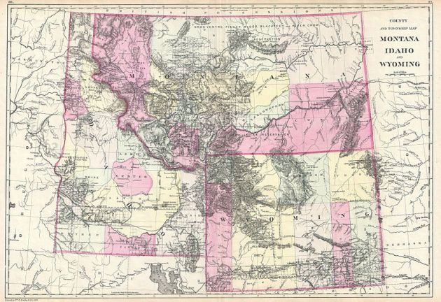 Map of Idaho, Montana and Wyoming image from Wikimedia Commons