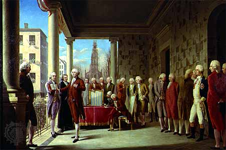 Washington's Inauguration painting by Ramon de Elorriaga