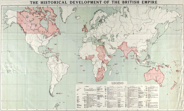 All the pink areas were places under British rule